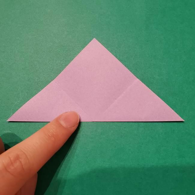 6 月の折り紙 あじさいを立体に折る折り方作り方(6)