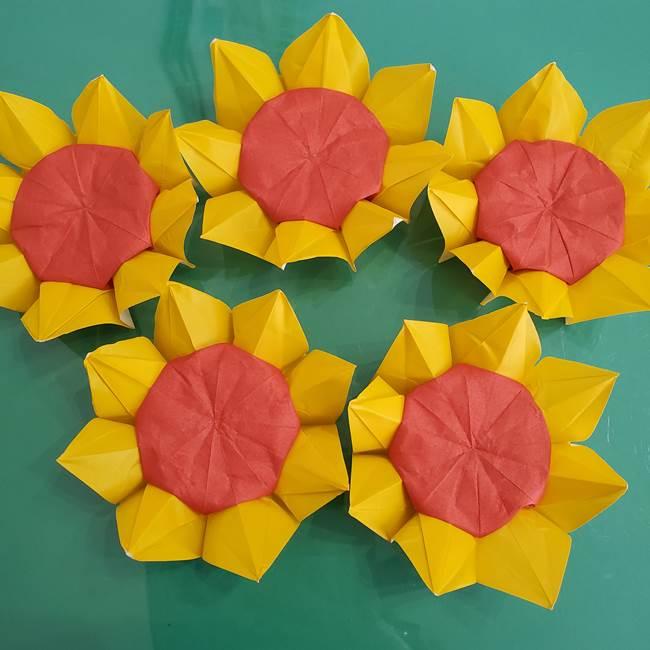 ひまわりの折り紙 立体的な花束とブーケの作り方①花束(1)