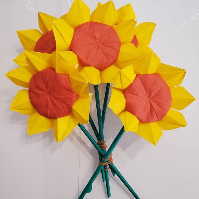 ひまわりの折り紙 立体的な花束とブーケの作り方①花束(10)