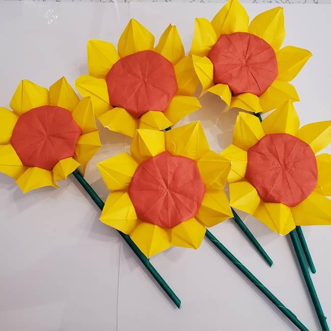 ひまわりの折り紙 立体的な花束とブーケの作り方①花束(2)