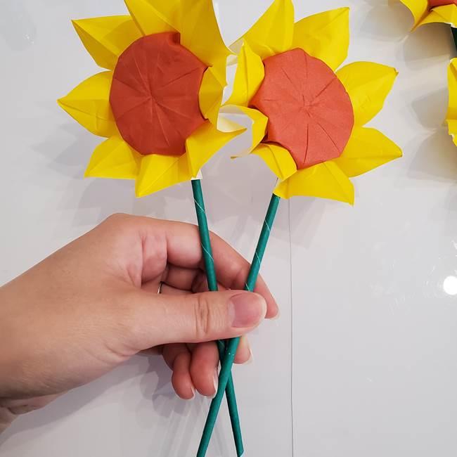 ひまわりの折り紙 立体的な花束とブーケの作り方①花束(3)