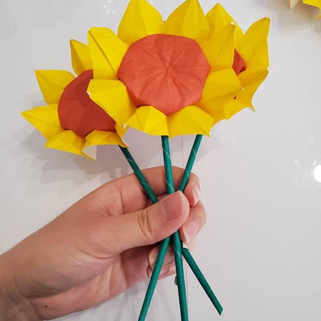 ひまわりの折り紙 立体的な花束とブーケの作り方①花束(4)