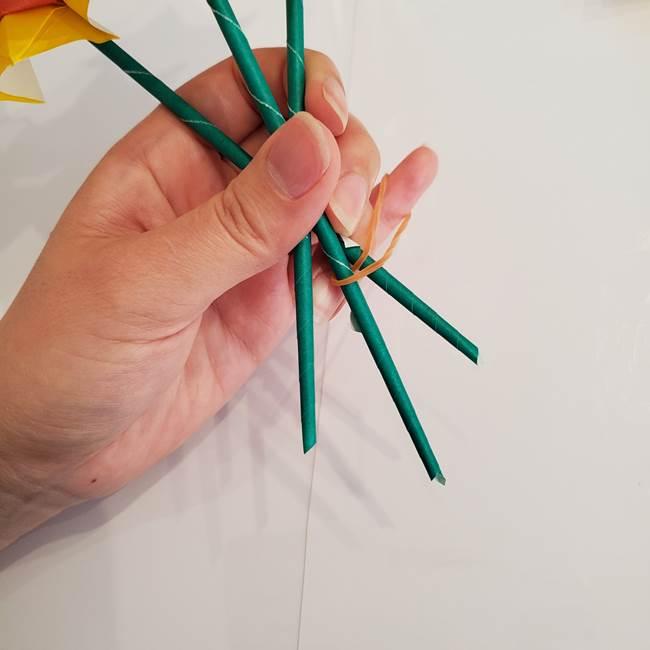 ひまわりの折り紙 立体的な花束とブーケの作り方①花束(5)