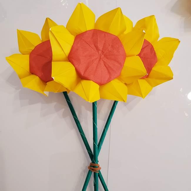 ひまわりの折り紙 立体的な花束とブーケの作り方①花束(8)