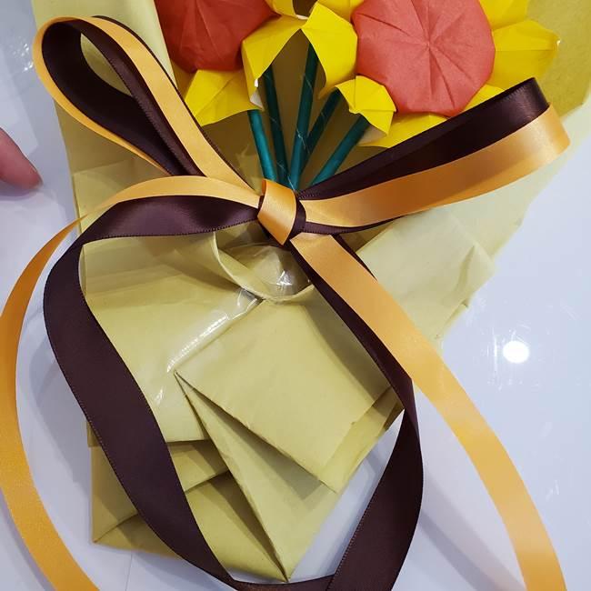 ひまわりの折り紙 立体的な花束とブーケの作り方②花束(10)