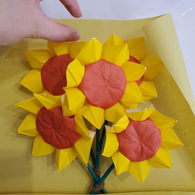 ひまわりの折り紙 立体的な花束とブーケの作り方②花束(2)