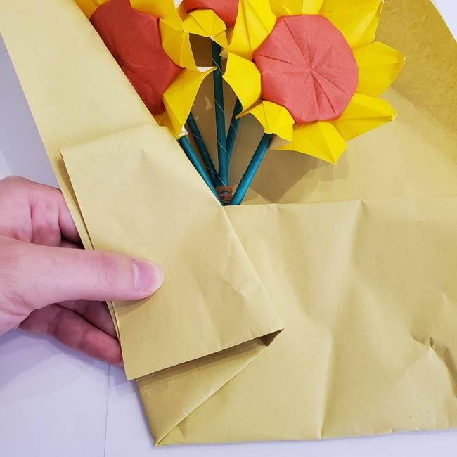 ひまわりの折り紙 立体的な花束とブーケの作り方②花束(4)