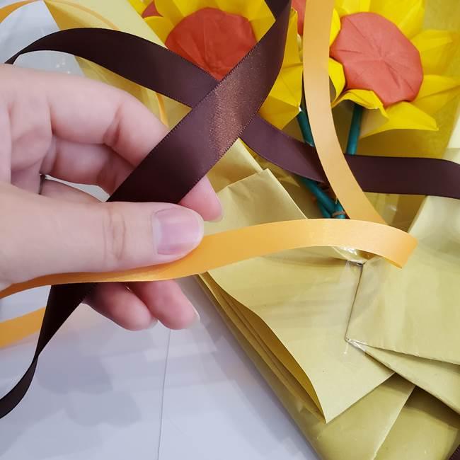 ひまわりの折り紙 立体的な花束とブーケの作り方②花束(8)