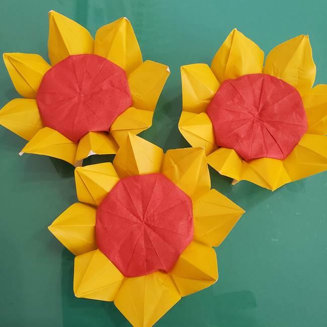 ひまわりの折り紙 立体的な花束とブーケの作り方③ブーケ(1)