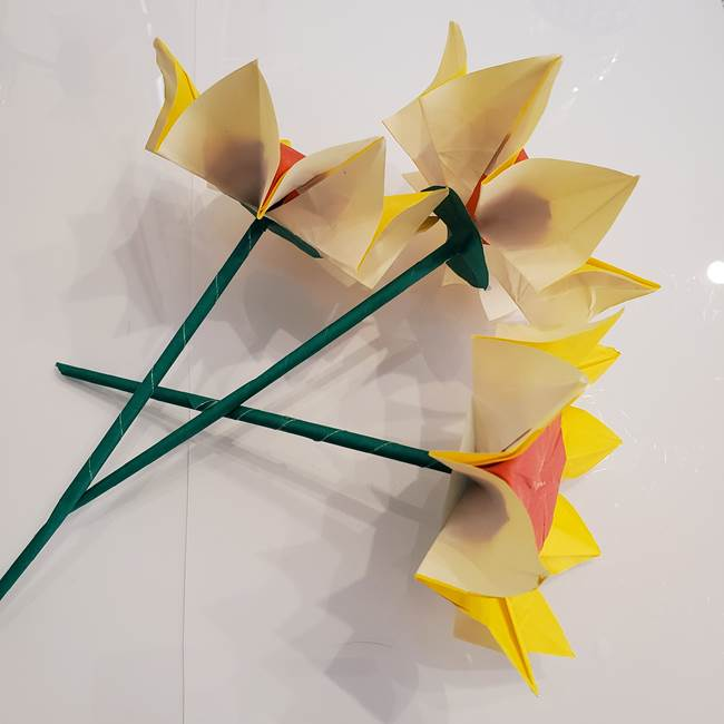 ひまわりの折り紙 立体的な花束とブーケの作り方③ブーケ(2)