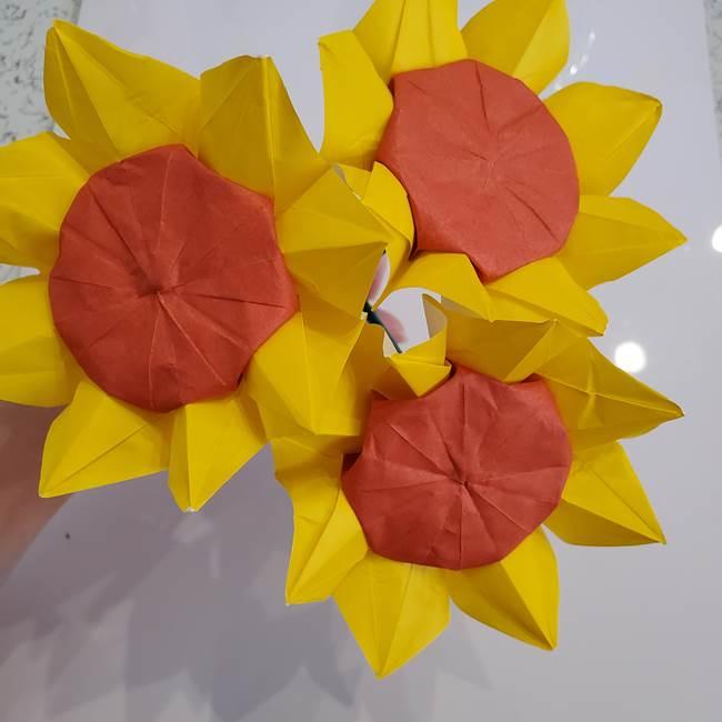 ひまわりの折り紙 立体的な花束とブーケの作り方③ブーケ(3)