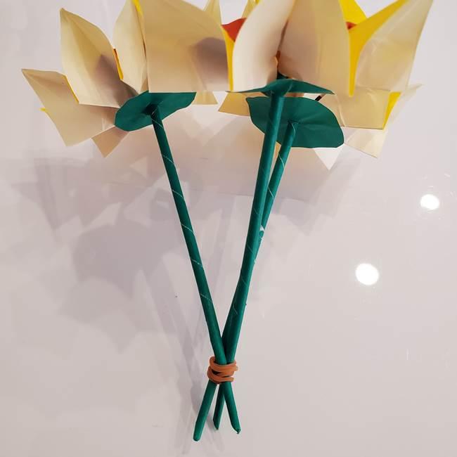 ひまわりの折り紙 立体的な花束とブーケの作り方③ブーケ(4)
