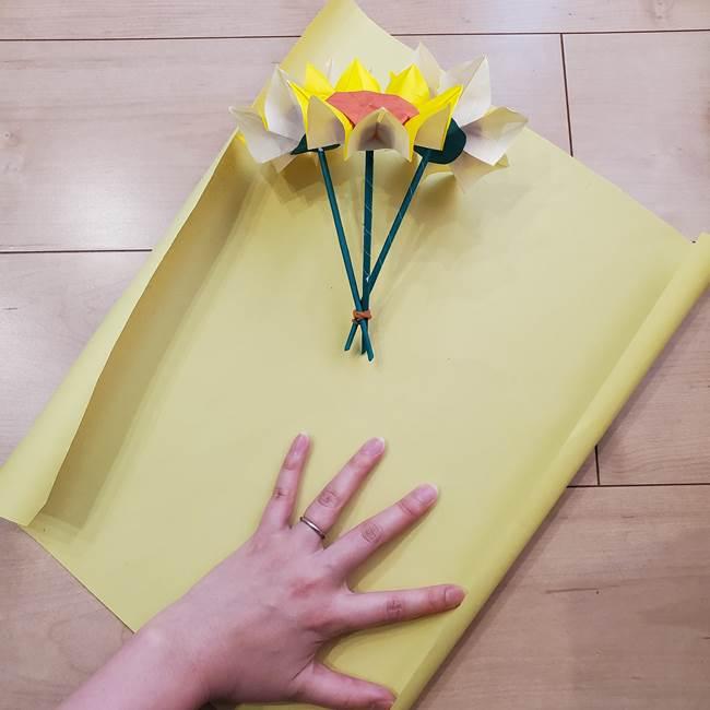 ひまわりの折り紙 立体的な花束とブーケの作り方④ブーケ(1)