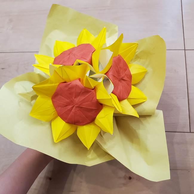 ひまわりの折り紙 立体的な花束とブーケの作り方④ブーケ(4)