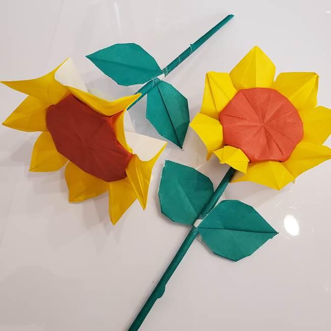 ひまわりの折り紙 立体的な葉っぱと茎の折り方★子供でも簡単な作り方
