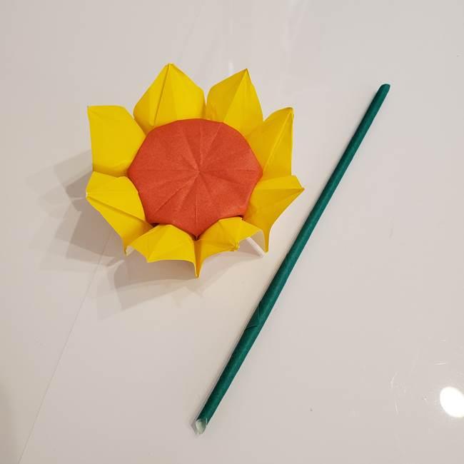 ひまわりの折り紙 立体的な葉っぱと茎の折り方作り方③横向き(1)