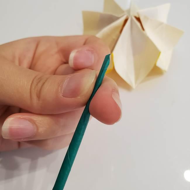 ひまわりの折り紙 立体的な葉っぱと茎の折り方作り方③横向き(3)