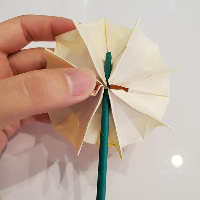 ひまわりの折り紙 立体的な葉っぱと茎の折り方作り方③横向き(4)