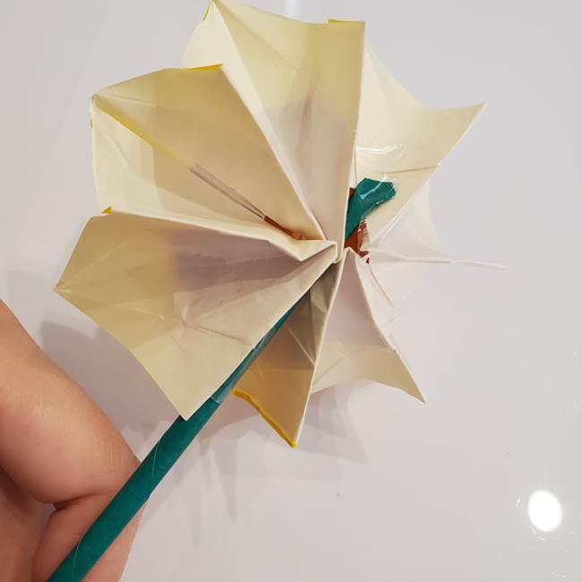 ひまわりの折り紙 立体的な葉っぱと茎の折り方作り方③横向き(5)