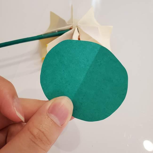 ひまわりの折り紙 立体的な葉っぱと茎の折り方作り方③横向き(6)