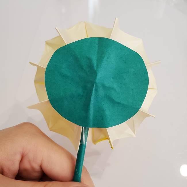 ひまわりの折り紙 立体的な葉っぱと茎の折り方作り方③横向き(8)