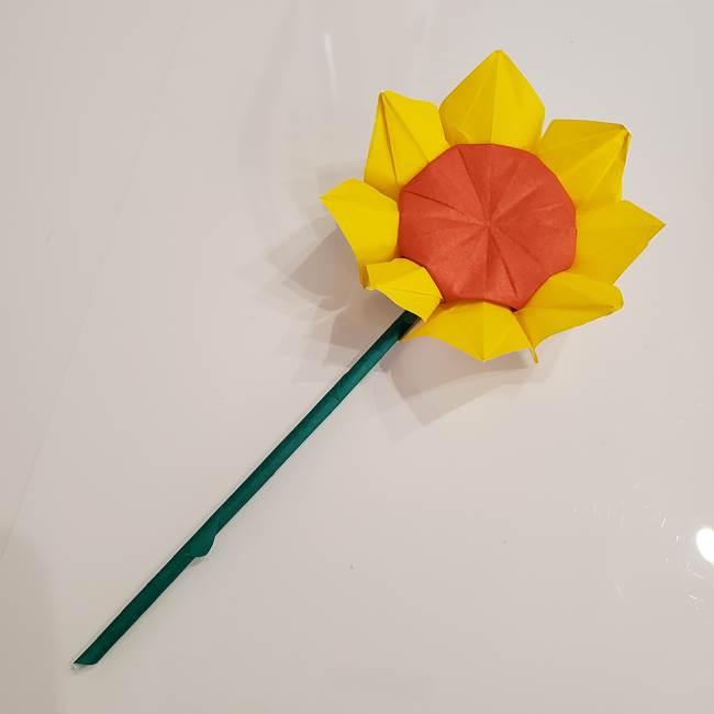 ひまわりの折り紙 立体的な葉っぱと茎の折り方作り方③横向き(9)