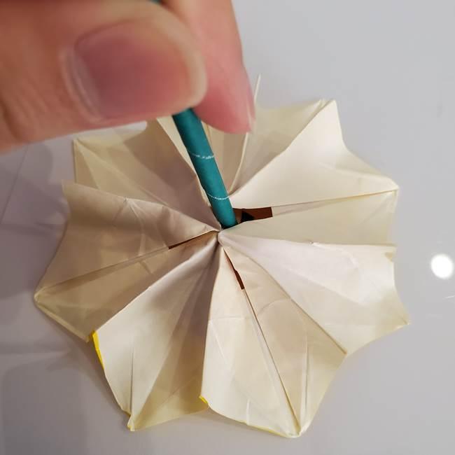 ひまわりの折り紙 立体的な葉っぱと茎の折り方作り方④上向き(11)