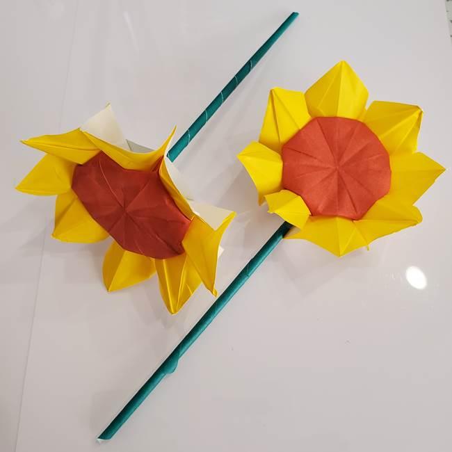ひまわりの折り紙 立体的な葉っぱと茎の折り方作り方⑤葉のつけ方(1)