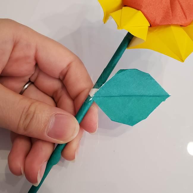 ひまわりの折り紙 立体的な葉っぱと茎の折り方作り方⑤葉のつけ方(2)