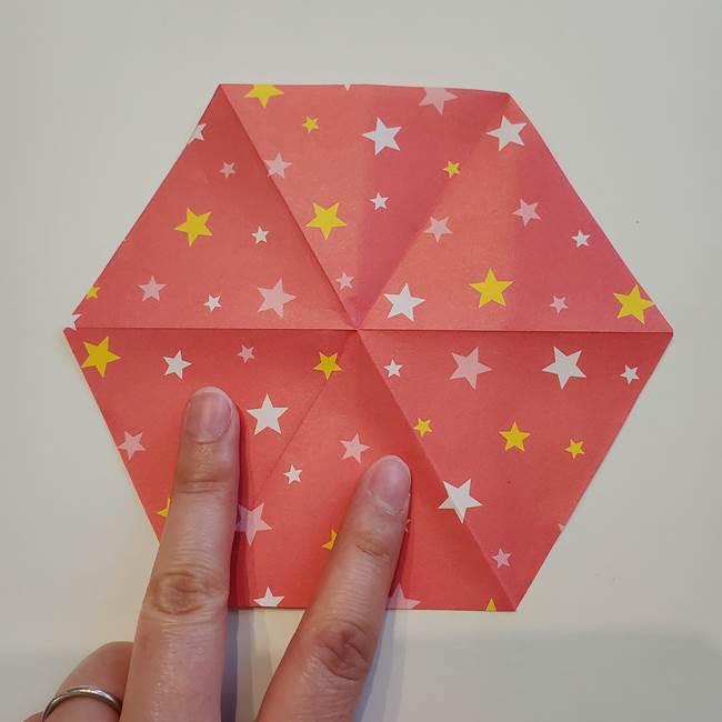 ぷくぷく星の折り紙 星型の箱の折り方作り方①六角形(15)