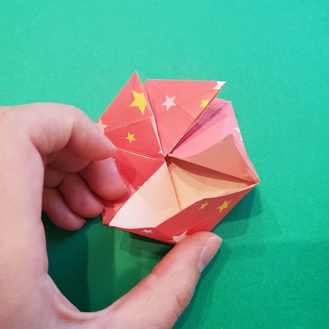 ぷくぷく星の折り紙 星型の箱の折り方作り方②完成(17)