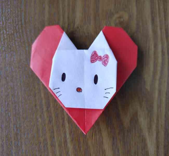 ハートキティの折り紙の作り方折り方 (19)