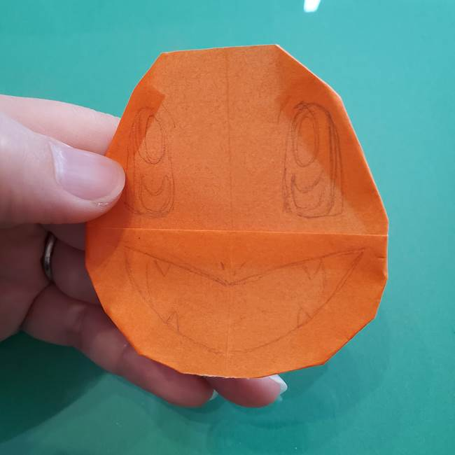 ヒトカゲの折り紙の簡単な折り方作り方④完成(1)
