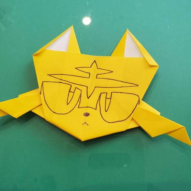 ポケモンの折り紙 ニャビーの折り方作り方②顔の描き方(2)