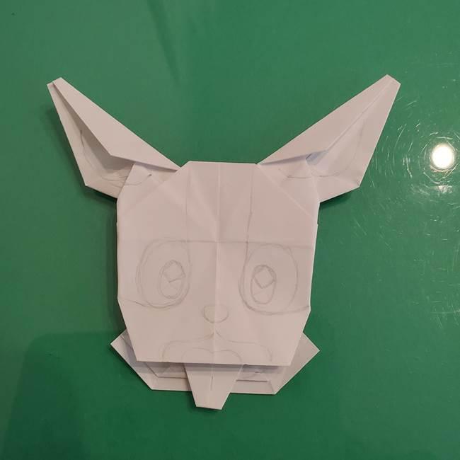 ポケモンの折り紙 ワンパチの折り方作り方②描き方(1)