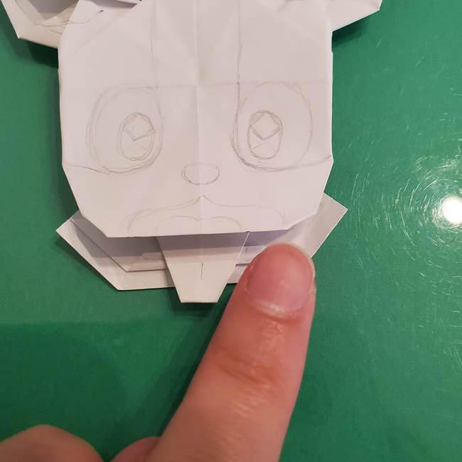 ポケモンの折り紙 ワンパチの折り方作り方②描き方(2)