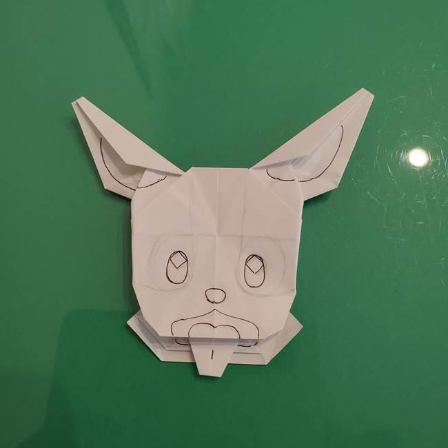 ポケモンの折り紙 ワンパチの折り方作り方②描き方(3)