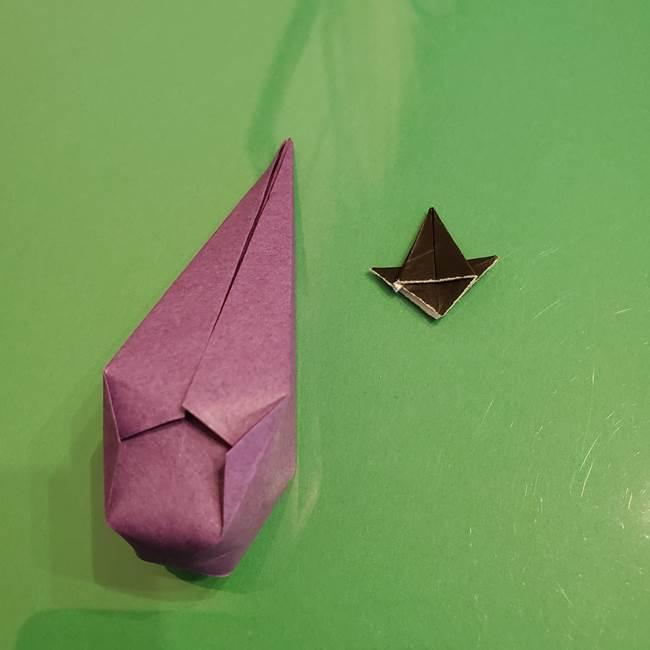 折り紙でなすを立体的につくる折り方作り方②へた(8)