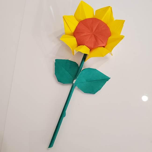 折り紙のひまわりの葉と茎の折り方は簡単♪子供にも作れる!1
