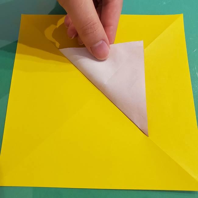 折り紙のひまわり 立体的で少し難しい作り方折り方①貼り合わせ(10)