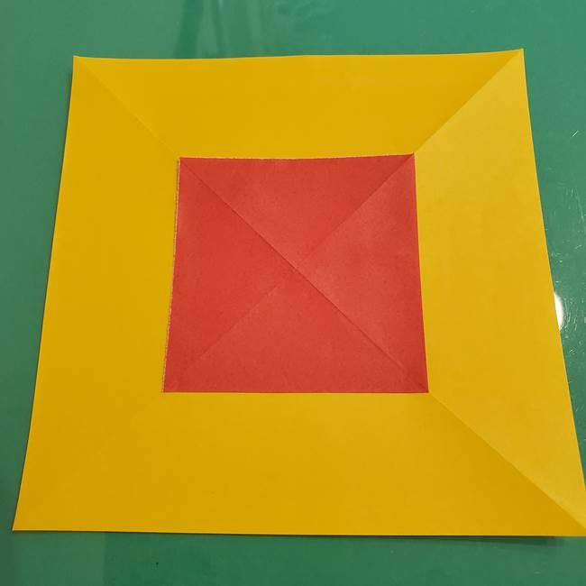 折り紙のひまわり 立体的で少し難しい作り方折り方①貼り合わせ(11)