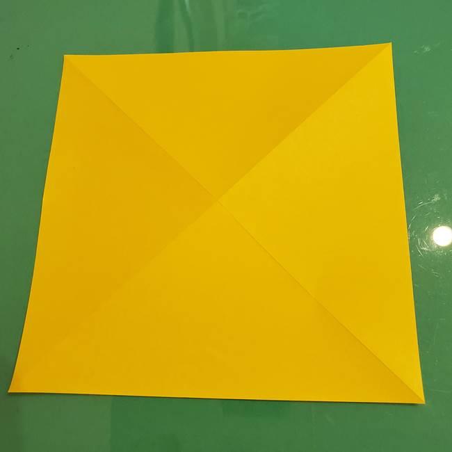 折り紙のひまわり 立体的で少し難しい作り方折り方①貼り合わせ(8)