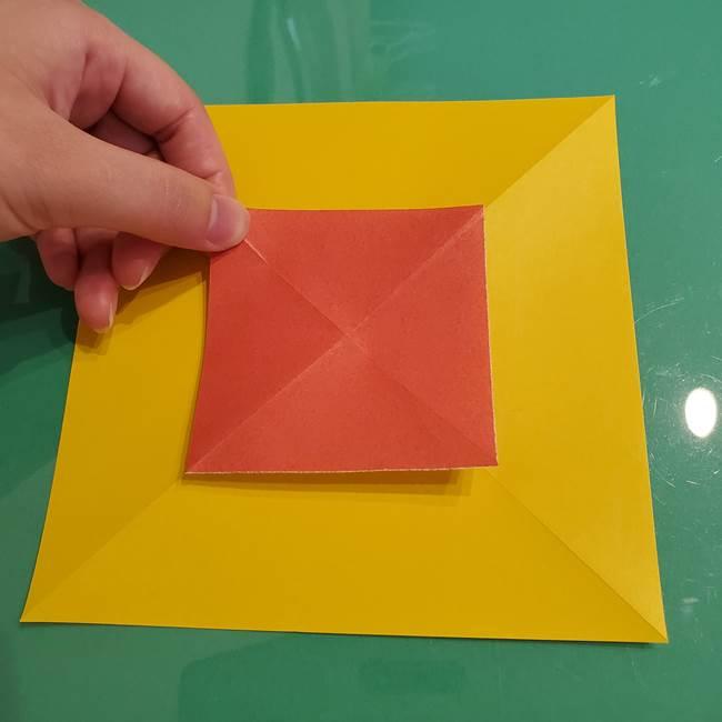 折り紙のひまわり 立体的で少し難しい作り方折り方①貼り合わせ(9)