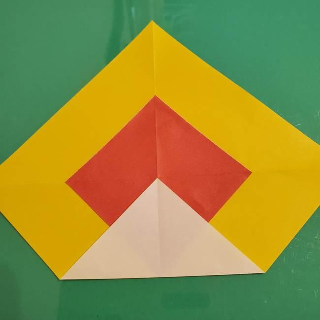 折り紙のひまわり 立体的で少し難しい作り方折り方②折る(1)