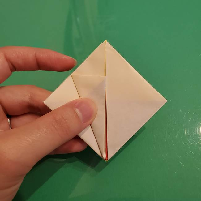 折り紙のひまわり 立体的で少し難しい作り方折り方②折る(10)