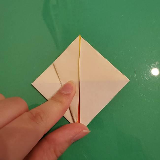折り紙のひまわり 立体的で少し難しい作り方折り方②折る(15)