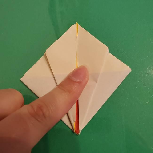 折り紙のひまわり 立体的で少し難しい作り方折り方②折る(17)