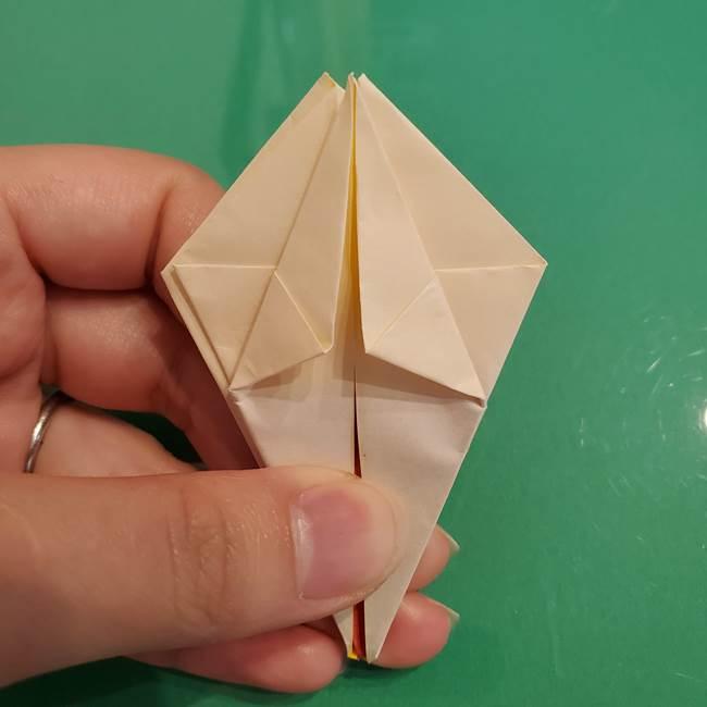 折り紙のひまわり 立体的で少し難しい作り方折り方②折る(20)