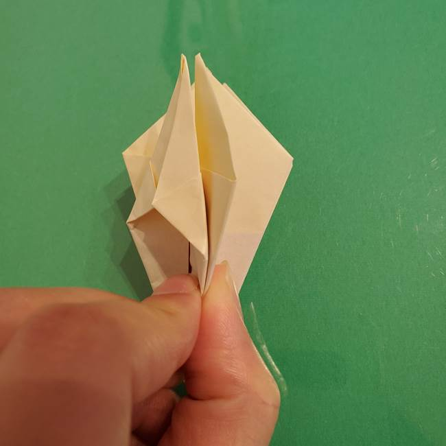 折り紙のひまわり 立体的で少し難しい作り方折り方②折る(21)
