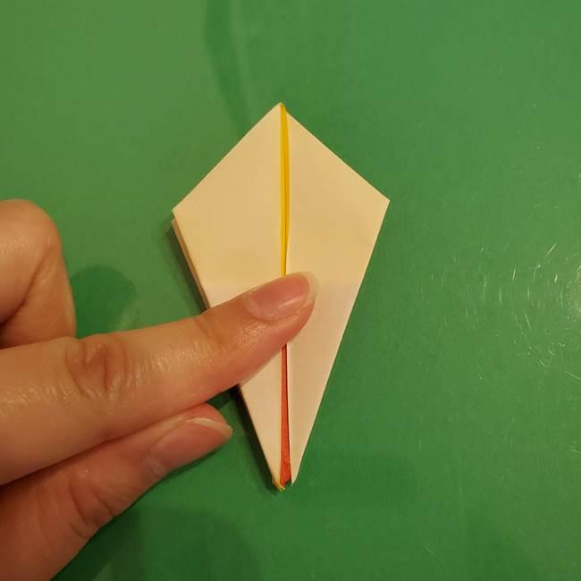 折り紙のひまわり 立体的で少し難しい作り方折り方②折る(22)